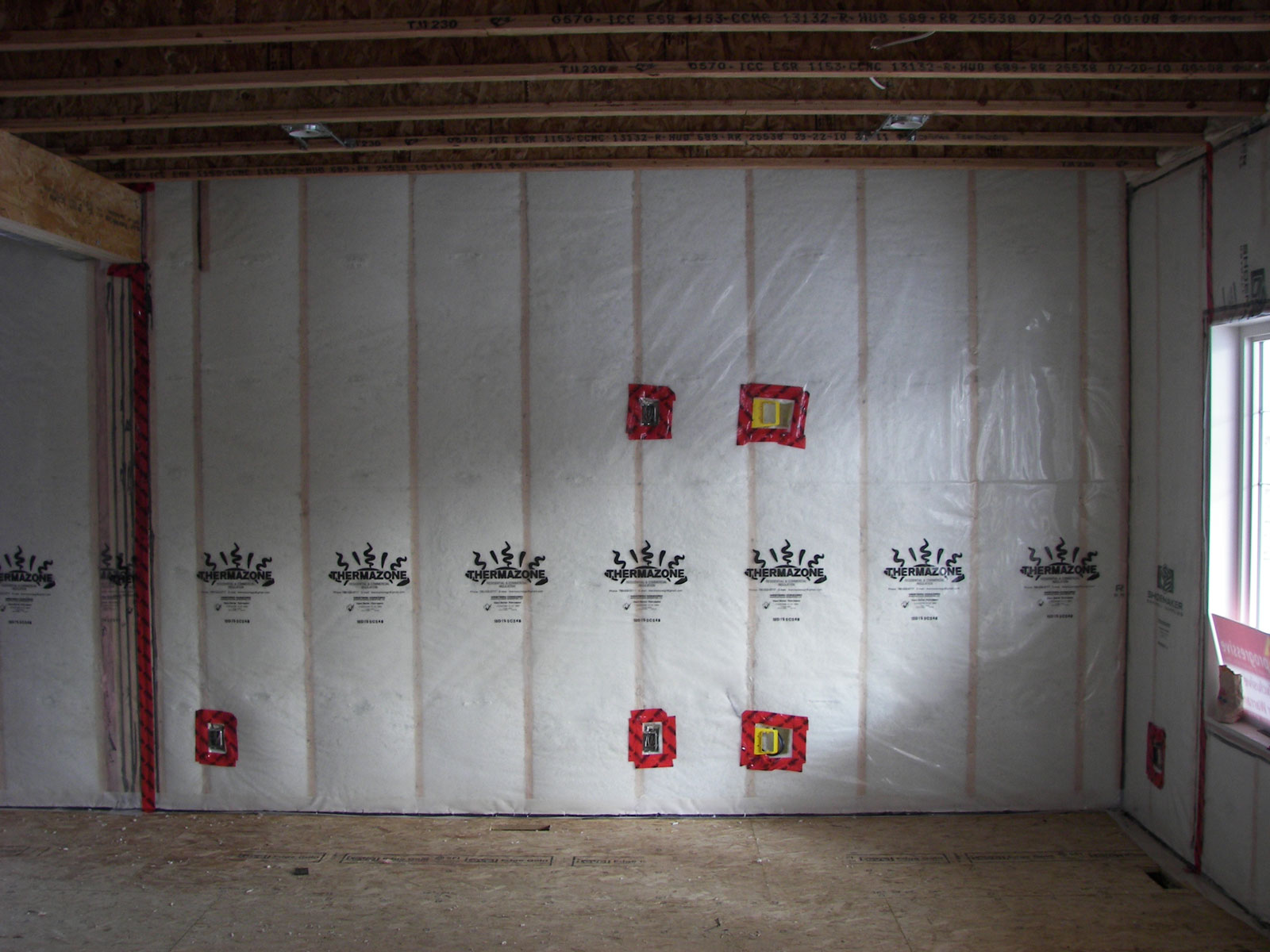 Thermazone Plastic Sheeting over insulation